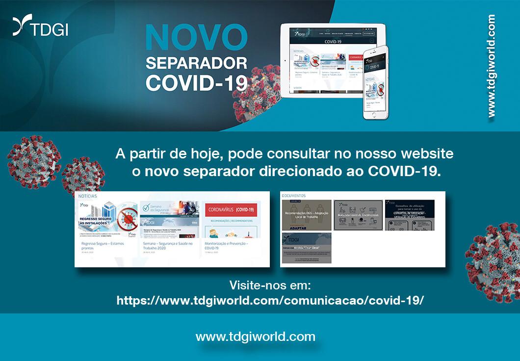 Novo Separador/Página – Covid-19. TDGI Portugal