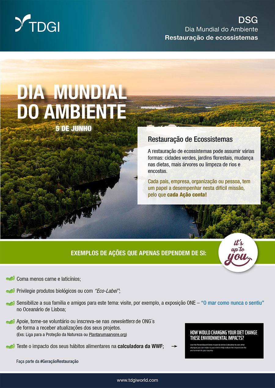 Dia Mundial do Ambiente - Restauração de Ecossistema. TDGI Portugal